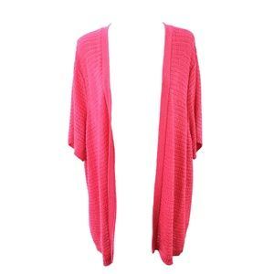 Alfred Dunner Pink Open Front Loose-Knit Cardigan